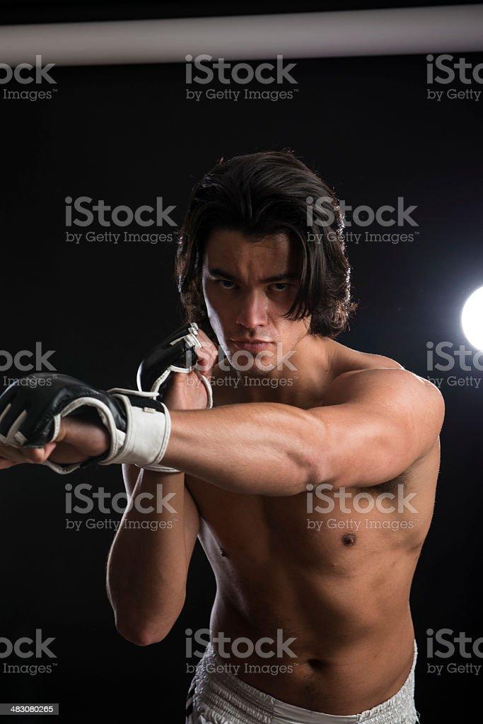 Malaysian boxer fighting stock photo