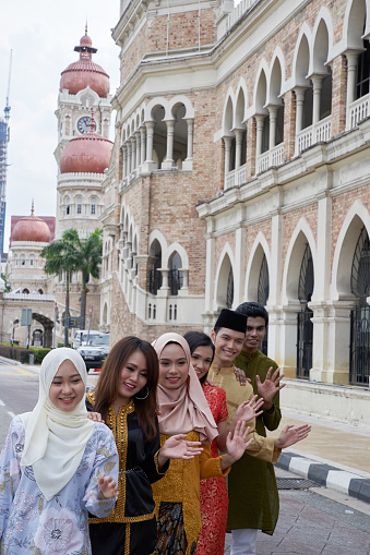 Malaysia multi ethnic adults celebrating their independence day at merdeka square