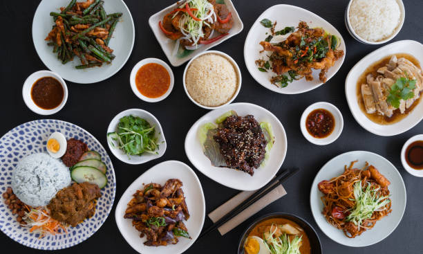 Malaysian food background. stock photo