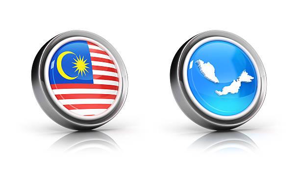 malaysische karte und flagge symbole - pictafolio stock-fotos und bilder