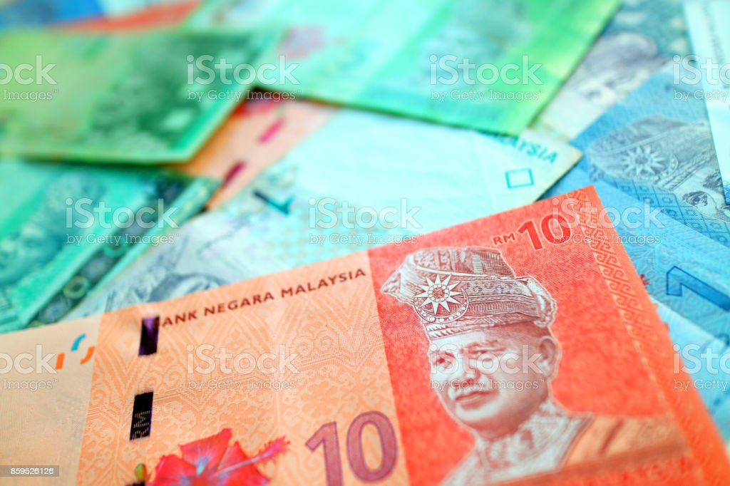 Malaysian ringgit banknote cash background stock photo