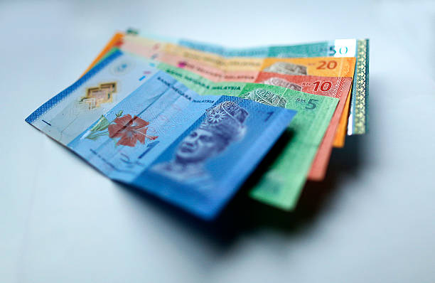 Malaysian ringgit currency on white background