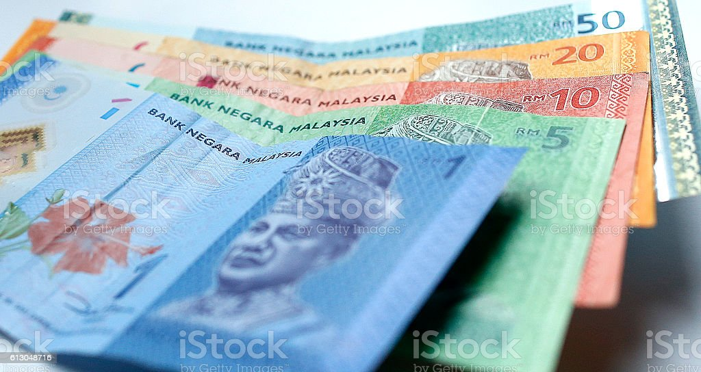 Malaysian ringgit currency on white background stock photo