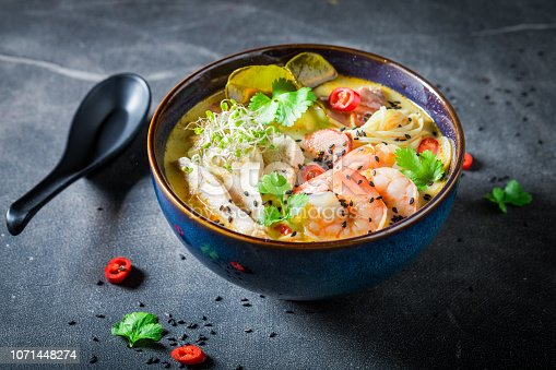 Malaysian Soup with prawn and coconut milk