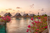 Malaysian Stilt Houses at the sunset