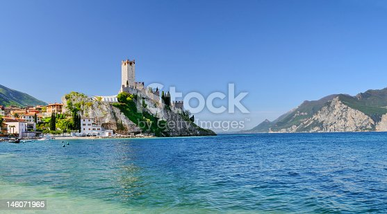 Panoramic view of the 14th century Castle of Malcesine, on the Garda Lake
