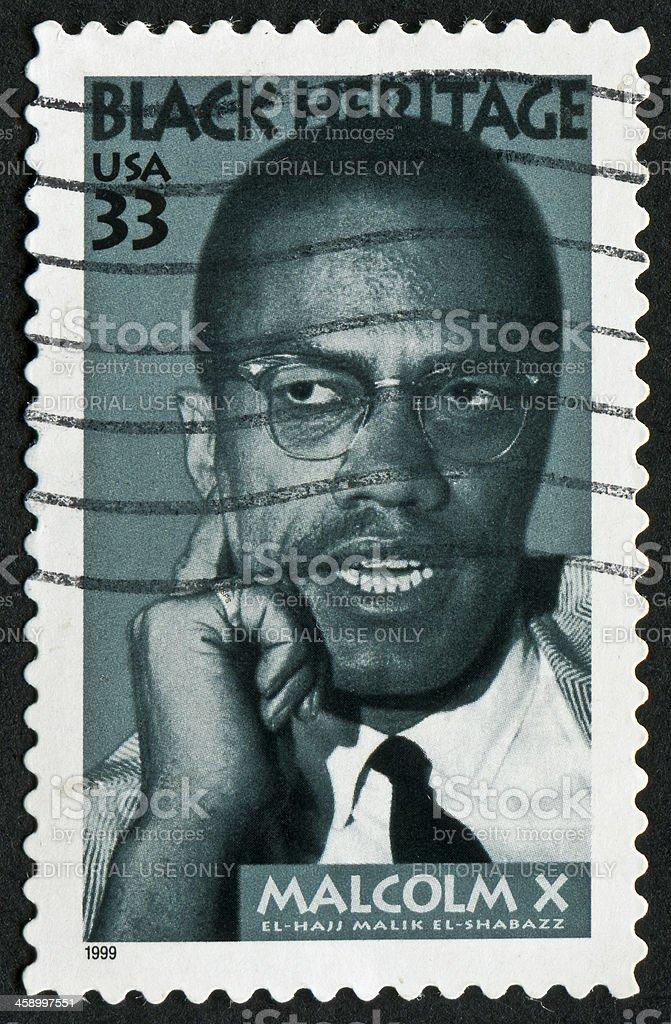 Malcolm X Stamp stock photo