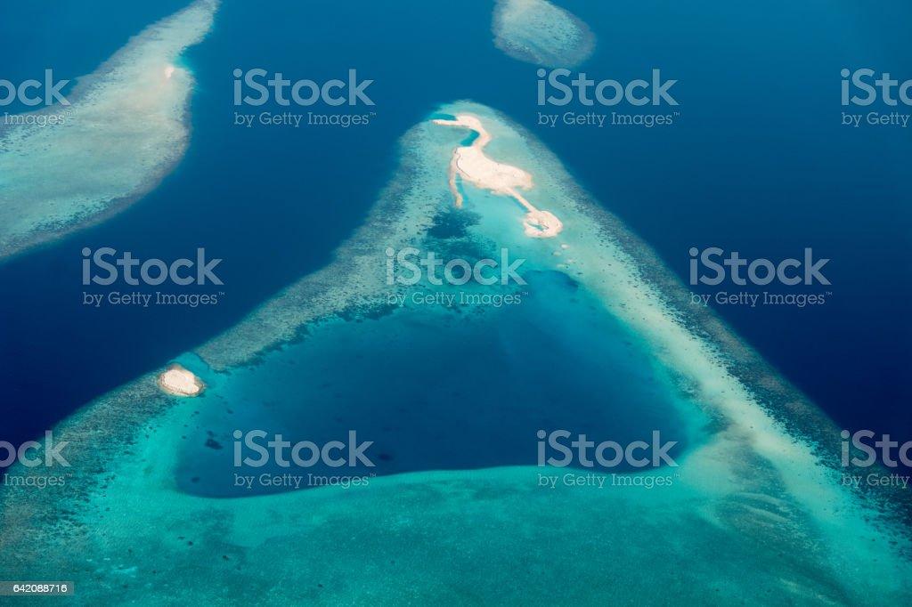 Maldives Ari Atoll Islets Aerial View - foto stock