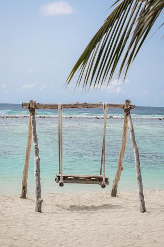 Maldives Wood Swing by the sea