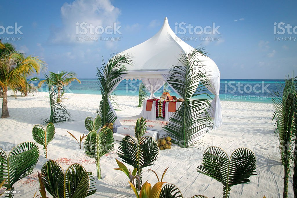 Maldives Beach Wedding Pavilion By The Ocean Royalty Free Stock Photo
