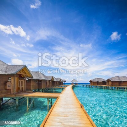 overwater bungalows boardwalk on Maldives