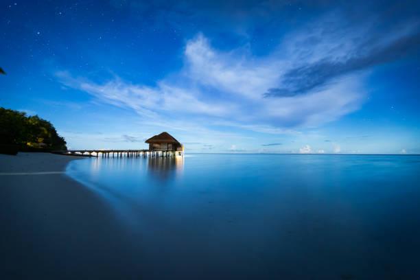 Maldives by Moonlight stock photo