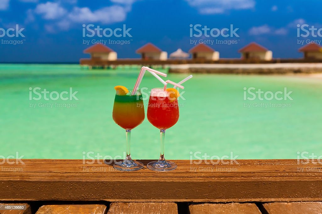 Maldives, cocktails stock photo
