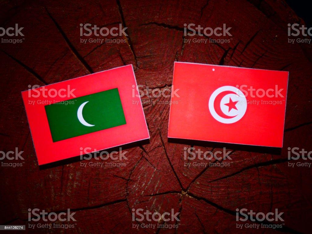 Maldives flag with Tunisian flag on a tree stump isolated stock photo