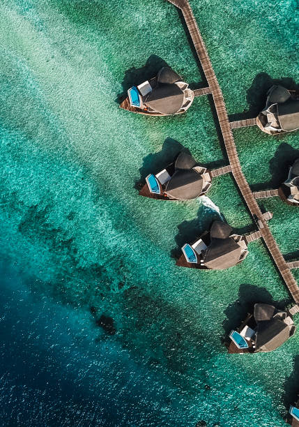Maldives Island Lagoon with Water Villas