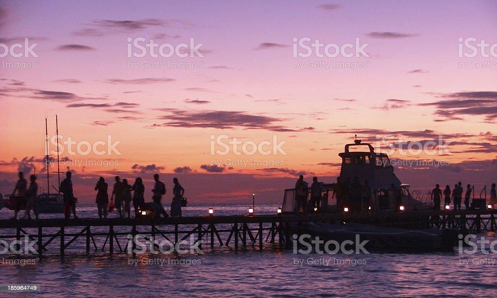 Maldives Jetty at Sunset royalty-free stock photo