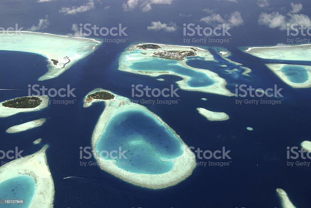 Maldives Panoramic view of Maldives islands from sea plane Atoll Stock Photo