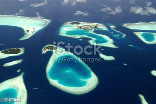 Panoramic view of Maldives islands from sea plane