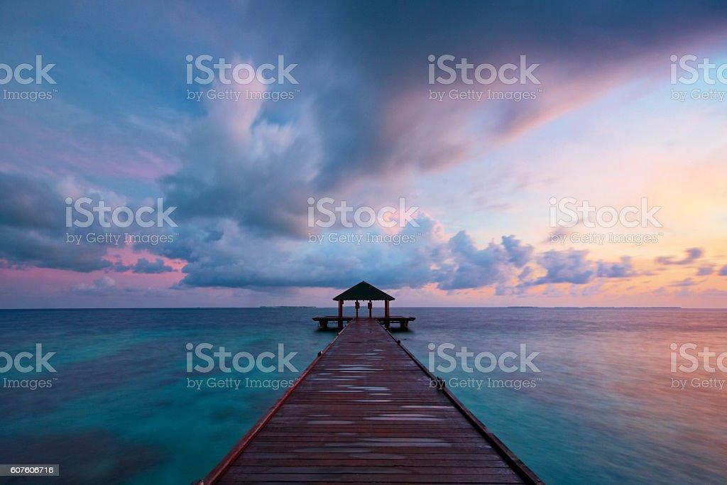 Maldives Seascape At Dawn stock photo