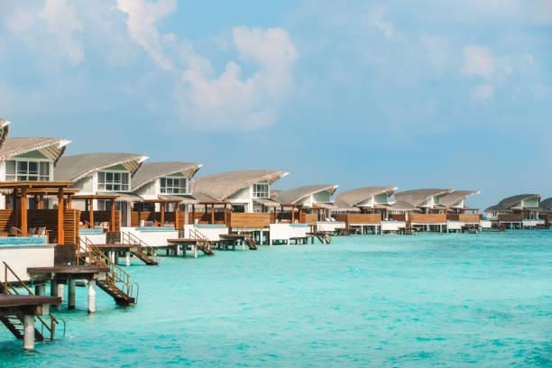 Maldives Water Villas at Lagoon stock photo