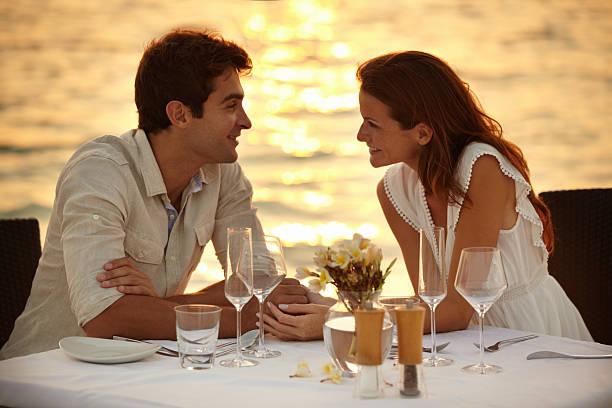 Maldivian romantic dinner stock photo