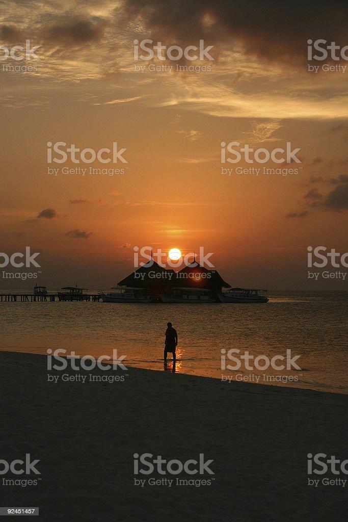 maldivian sunset royalty-free stock photo