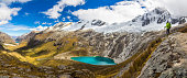 Male Adventurer with a Backpack on top of a hill on the right looking at the beautiful and vast valley landscape with a turquoise blue water color lake in Cordillera Blanca, Peruvian Mountains, South America