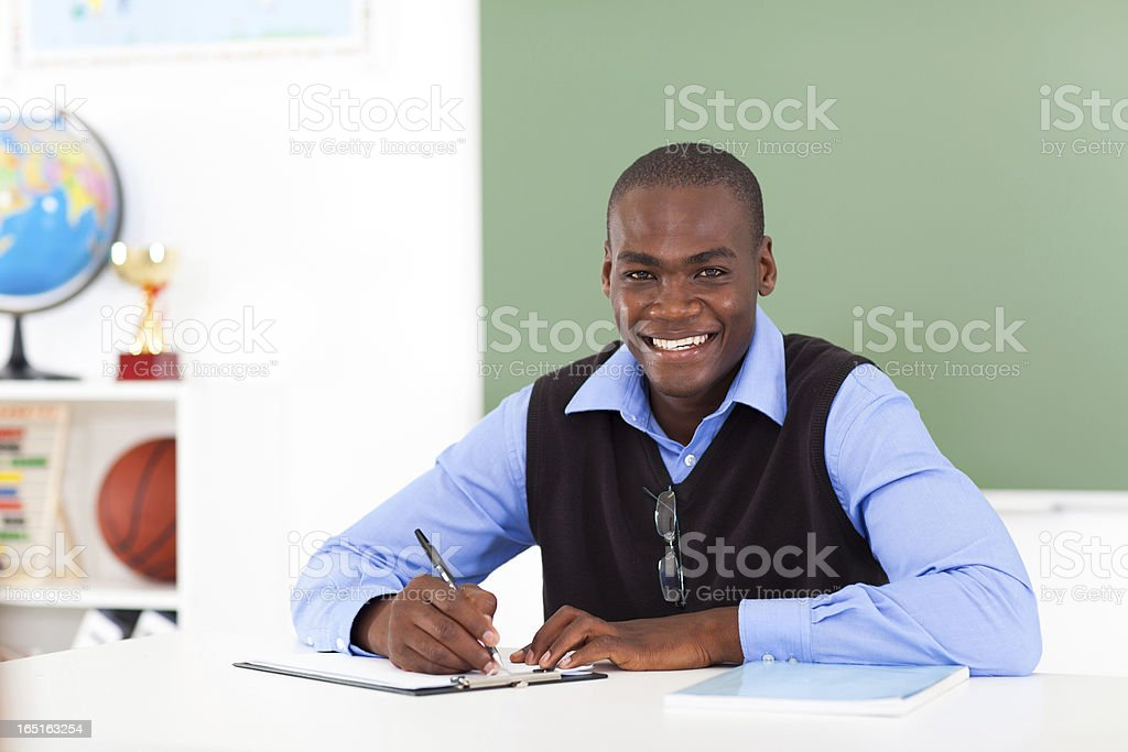 male african american school teacher stock photo
