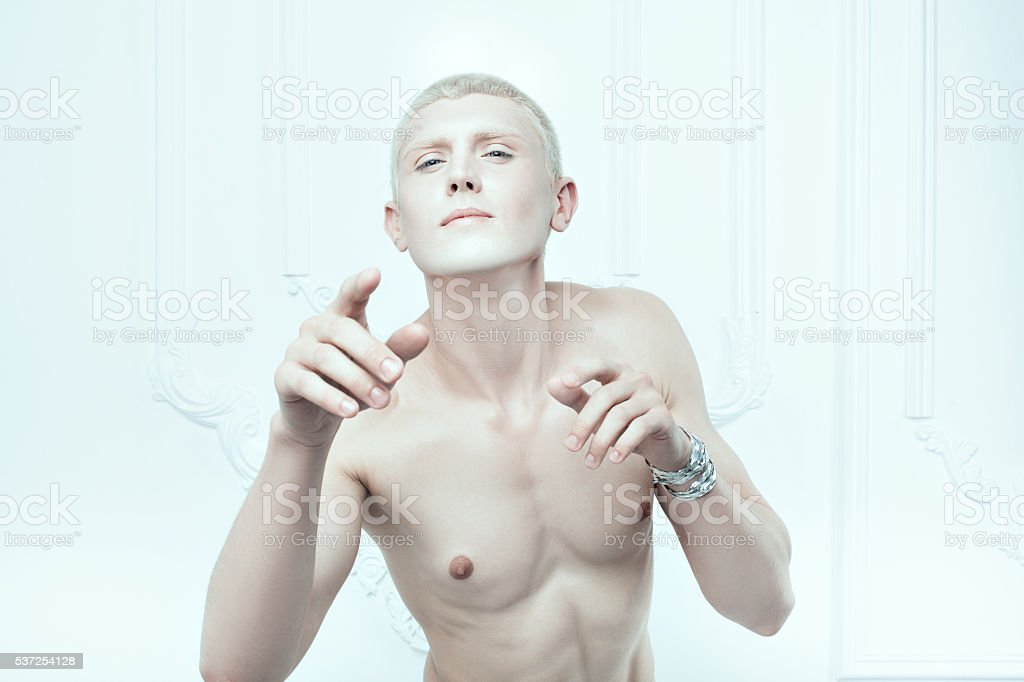 Male albino with white skin. stock photo