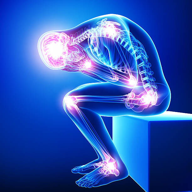 male all joints pain in blue male all joints pain in blue spine body part stock pictures, royalty-free photos & images
