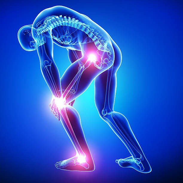male all joints pain in blue stock photo
