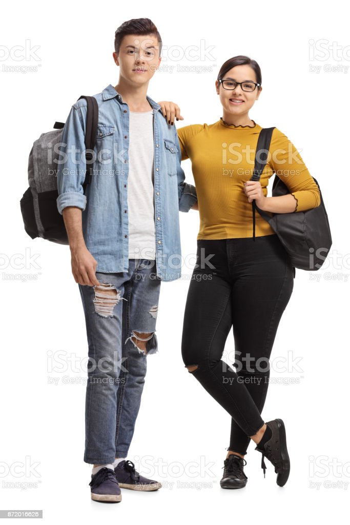 Male and a female teenage student stock photo