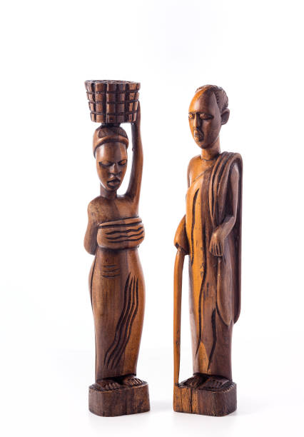 Male and Female African Wooden Carving stock photo