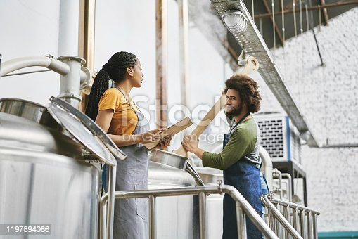 Native American male and mixed race female workers stirring beer and doing quality check at Buenos Aires craft brewery.