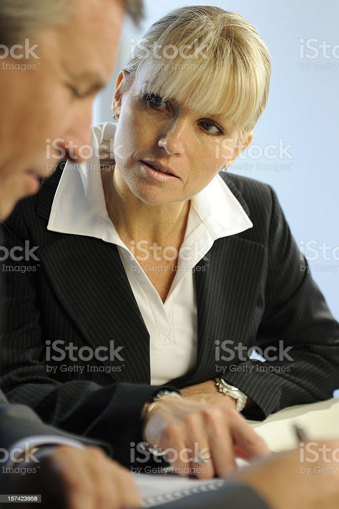 Male and Female Business People Interacting royalty-free stock photo