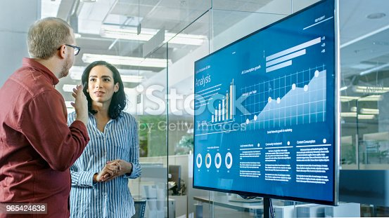649403294 istock photo Male and Female Business Workers in Conference Room Have Discussion about Statistics and Graphs Shown on a Presentation TV. 965424638