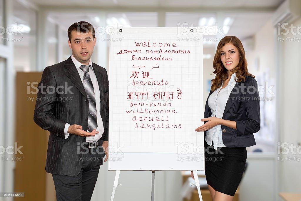Hombres Y Mujeres De Negocios Instructores Bienvenido