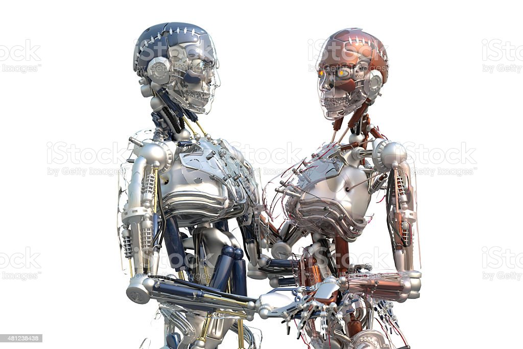 Male and Female Cyborgs holding Hands stock photo