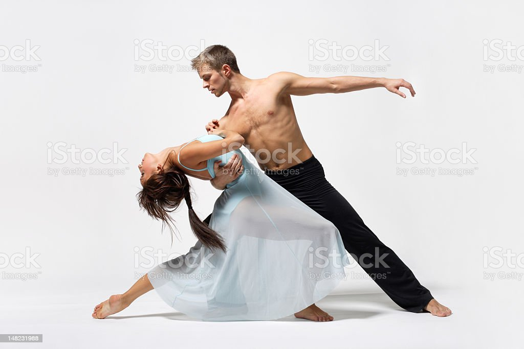 A male and female dancing together stock photo