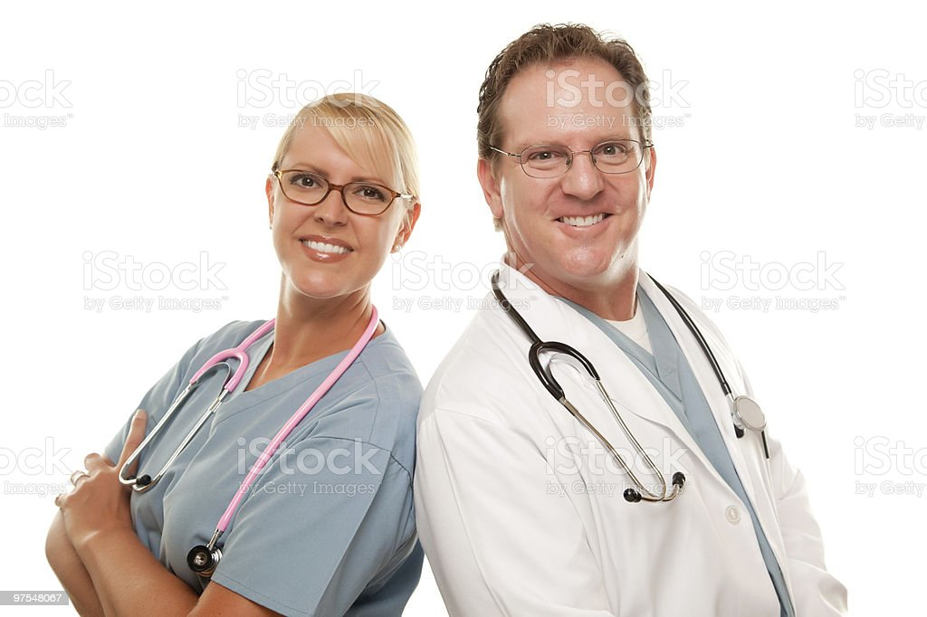 Male and Female Doctors Smiling Facing Camera Isolated royalty-free stock photo