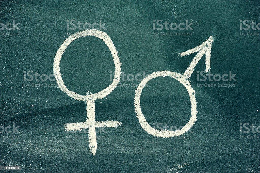 Männliche und weibliche Geschlecht Symbole auf Tafel Lizenzfreies stock-foto