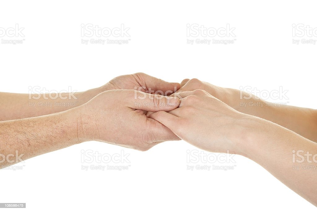 male and female hands (palms) stock photo