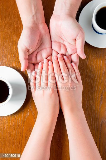 male and female hands on the table with cups of coffee