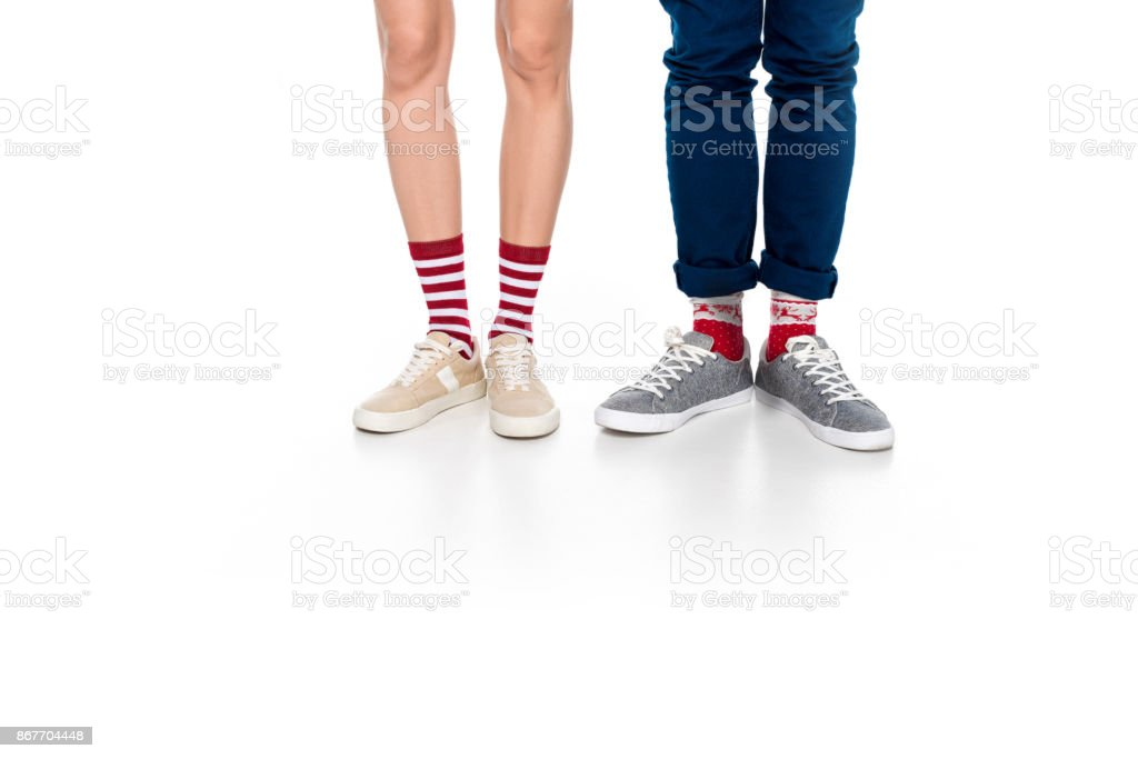 male and female legs isolated on white stock photo