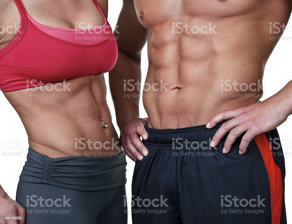 Male and female muscular torso royalty-free stock photo
