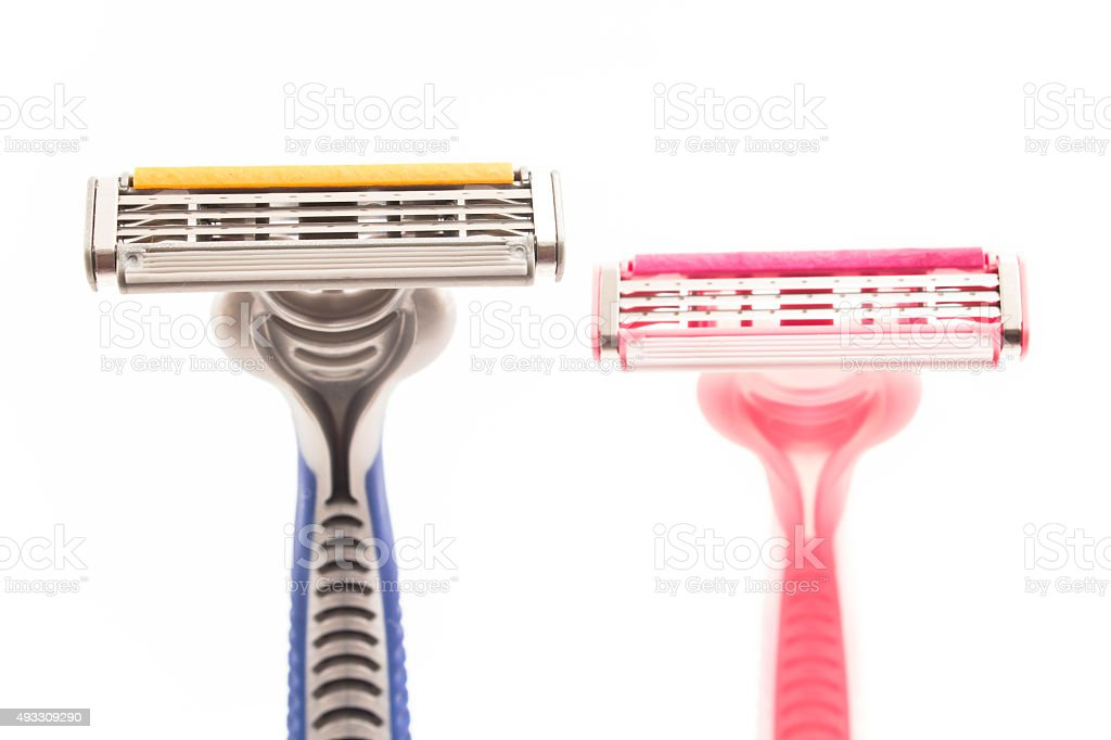 Male and female razor stock photo