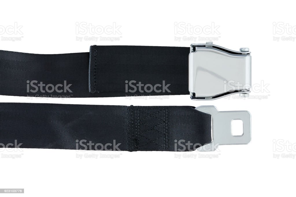 Male and Female side of Airplane Safety Seat Belts stock photo