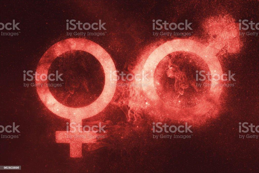 Signo masculino e feminino, símbolo masculino e feminino. Fundo do céu de noite abstrata - Foto de stock de Abstrato royalty-free