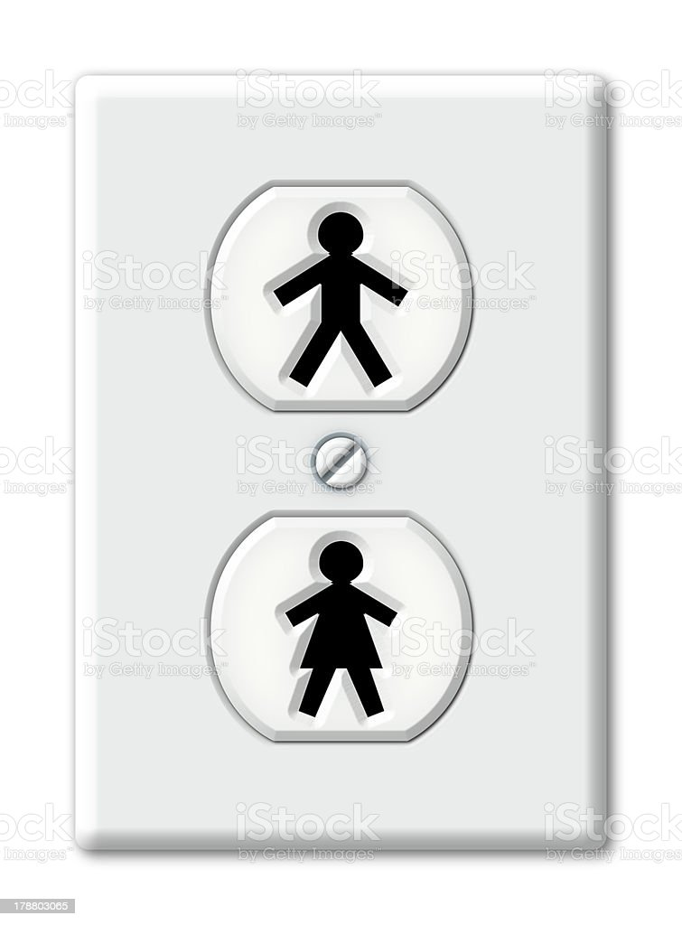 Male And Female Symbol Shaped Electrical Outlet Stock Photo More