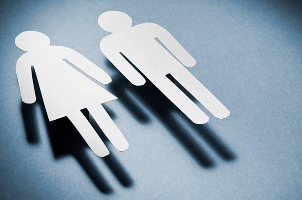 수컷 및 암컷 기호들 강력한 그림자 - 성별 뉴스 사진 이미지